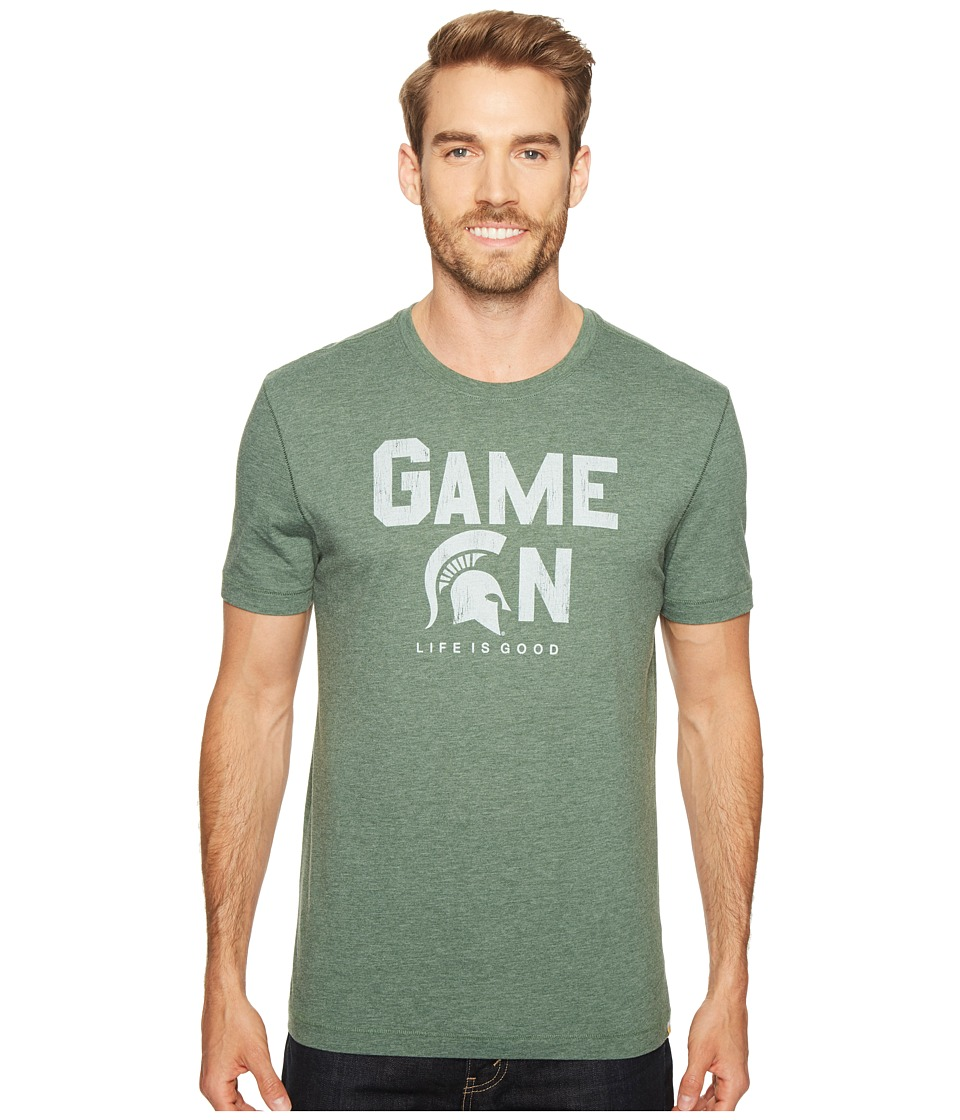 Life is Good - Michigan State Spartans Game On Cool Tee (Dark Green) Men's T Shirt