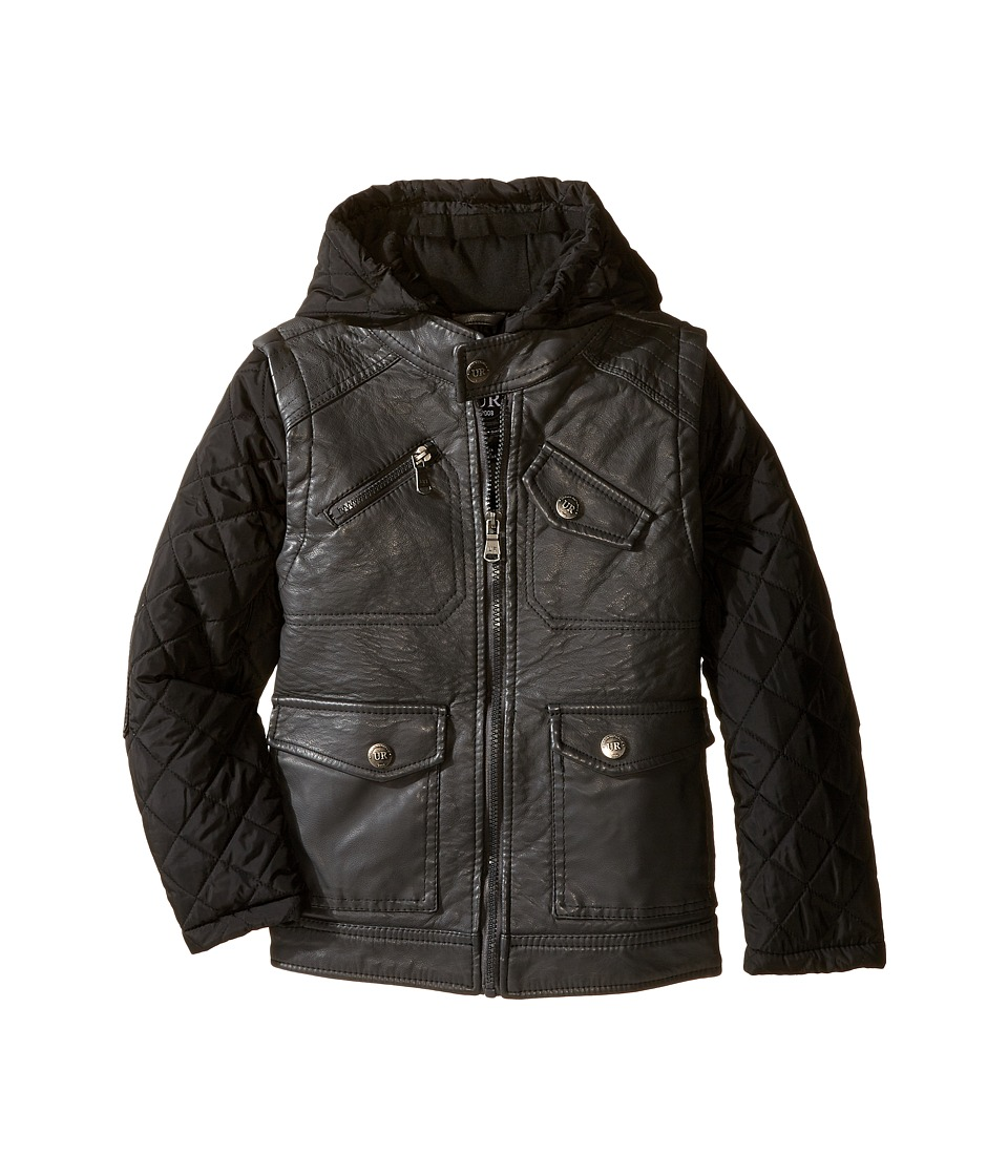Urban Republic Kids - Buffalo Faux Leather Biker Jacket (Little Kids) (Charcoal) Boy's Coat