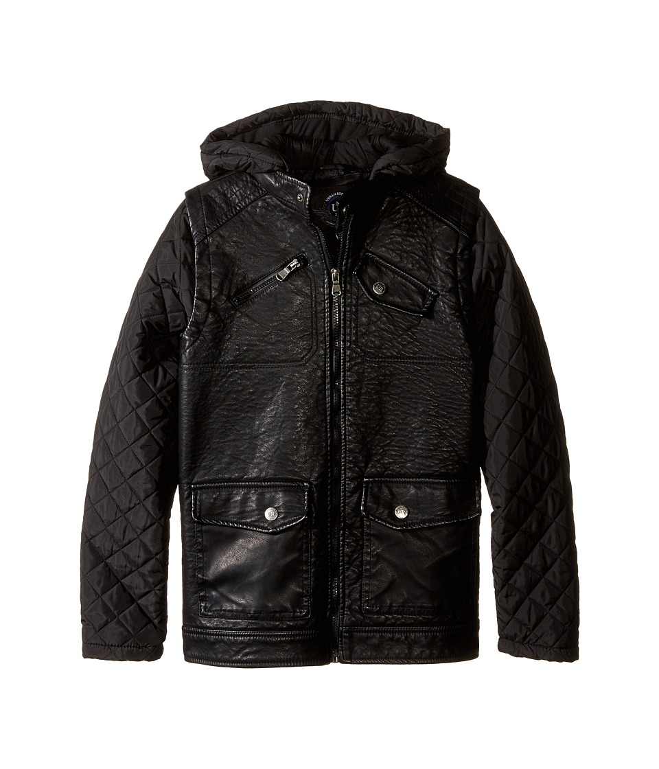 Urban Republic Kids - Buffalo Faux Leather Biker Jacket (Big Kids) (Black) Boy's Coat