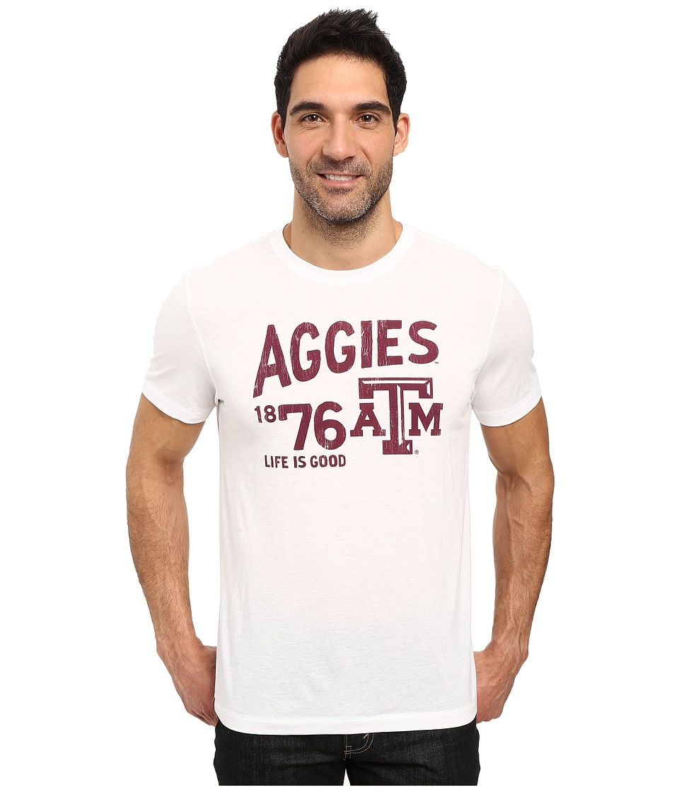 Life is good - Texas AM Aggies Short Sleeve Tee (White) Men's T Shirt