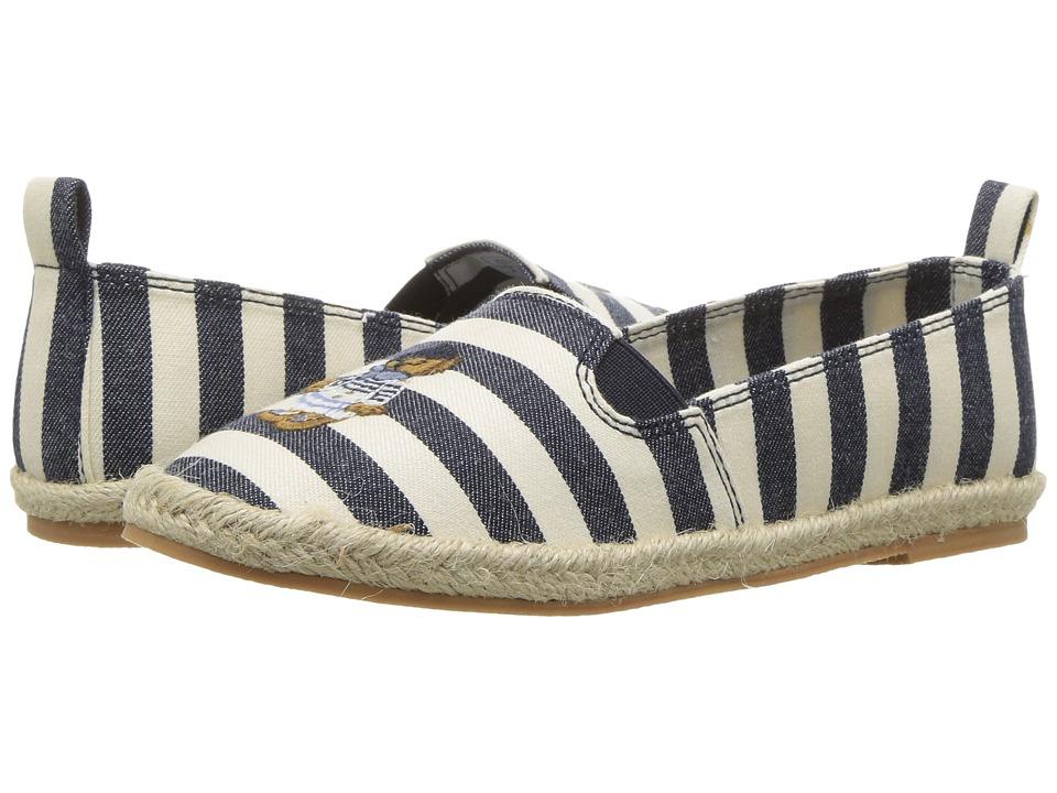 Polo Ralph Lauren Kids - Beakon (Little Kid) (White Striped Navy Chambray/Multi Polo Bear) Girl's Shoes