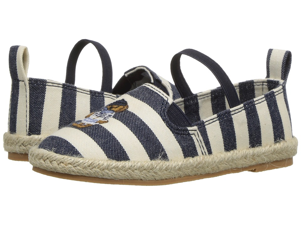 Polo Ralph Lauren Kids - Beakon (Toddler) (White Striped Navy Chambray/Multi Polo Bear) Girls Shoes