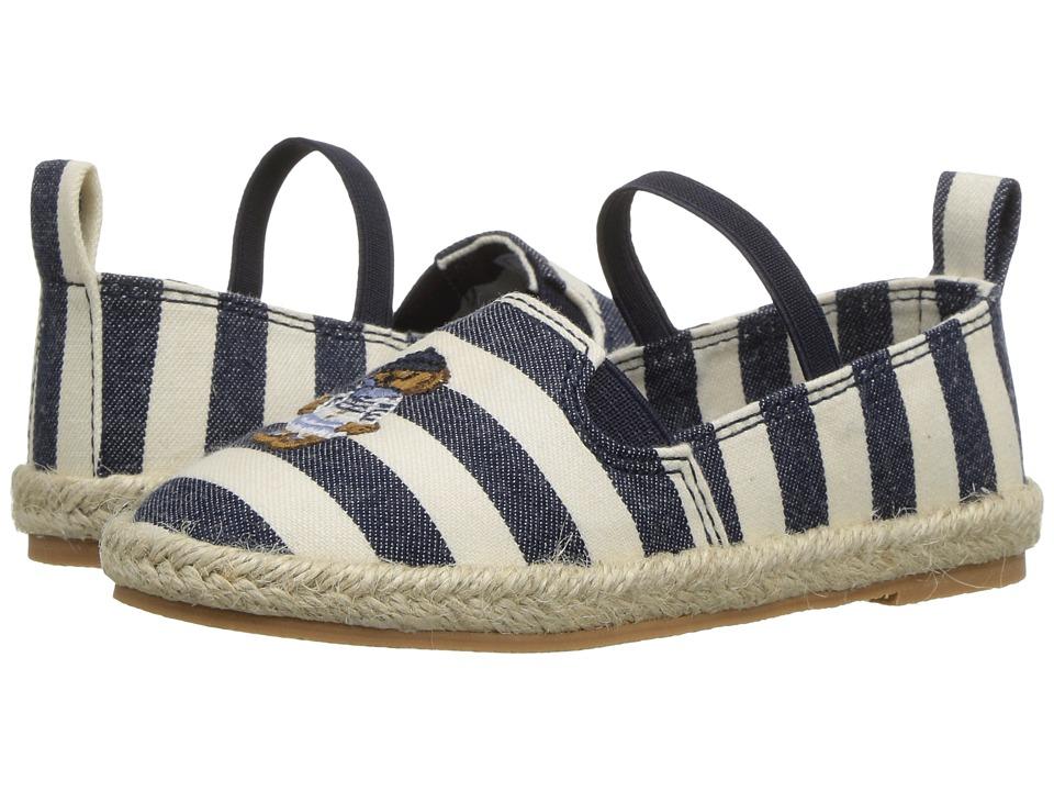 Polo Ralph Lauren Kids - Beakon (Toddler) (White Striped Navy Chambray/Multi Polo Bear) Girls Shoes