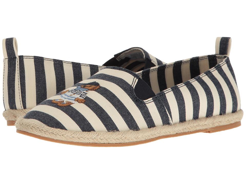 Polo Ralph Lauren Kids - Beakon (Big Kid) (White Striped Navy Chambray/Multi Polo Bear) Girls Shoes