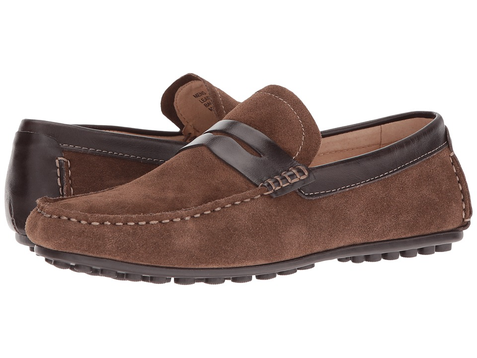 Florsheim - Denison Penny Driver (Mushroom Suede/Brown Smooth) Men's Slip on Shoes