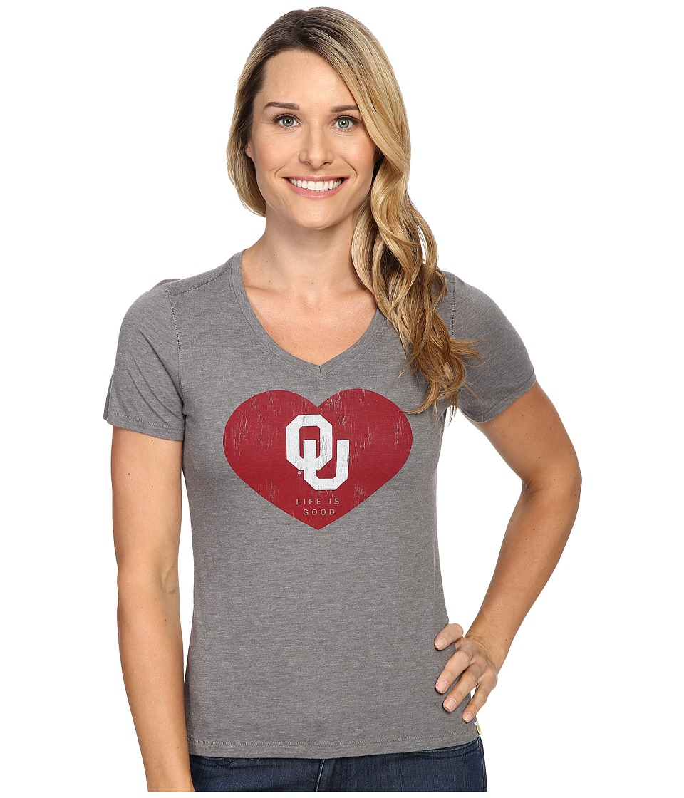 Life is Good OU Heart Short Sleeve Tee (Slate Grey) Women
