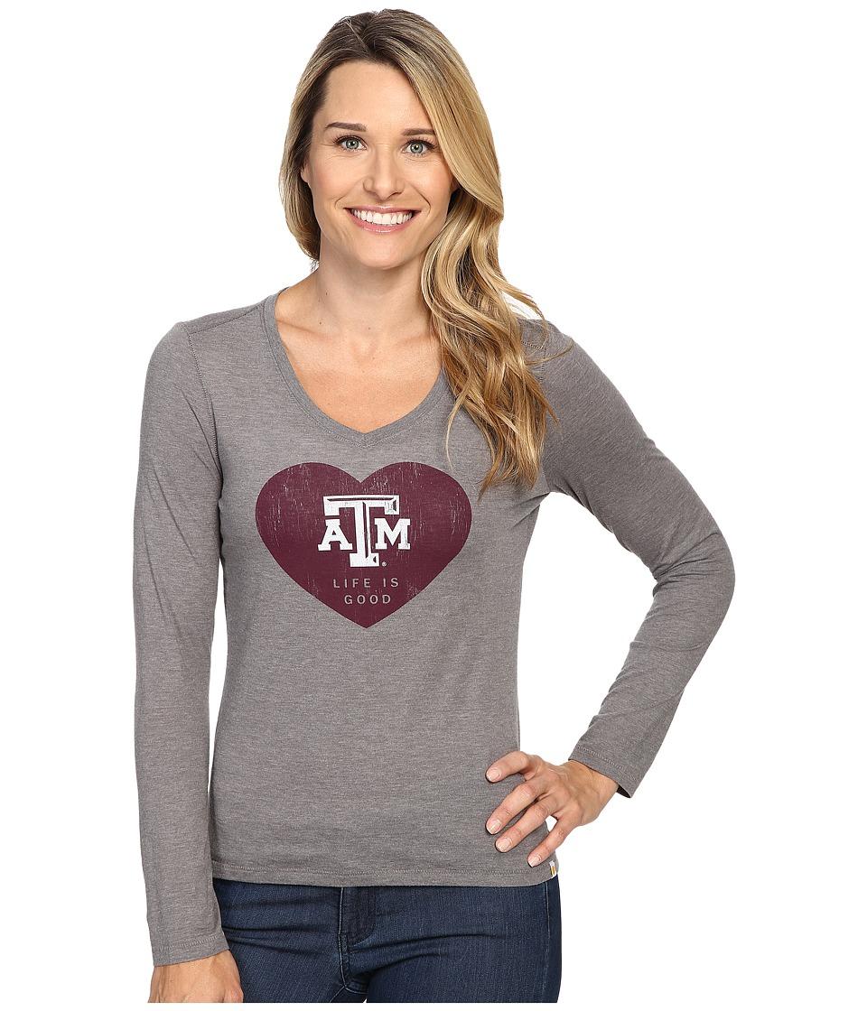 Life is good ATM Heart Long Sleeve Tee (Grey) Women