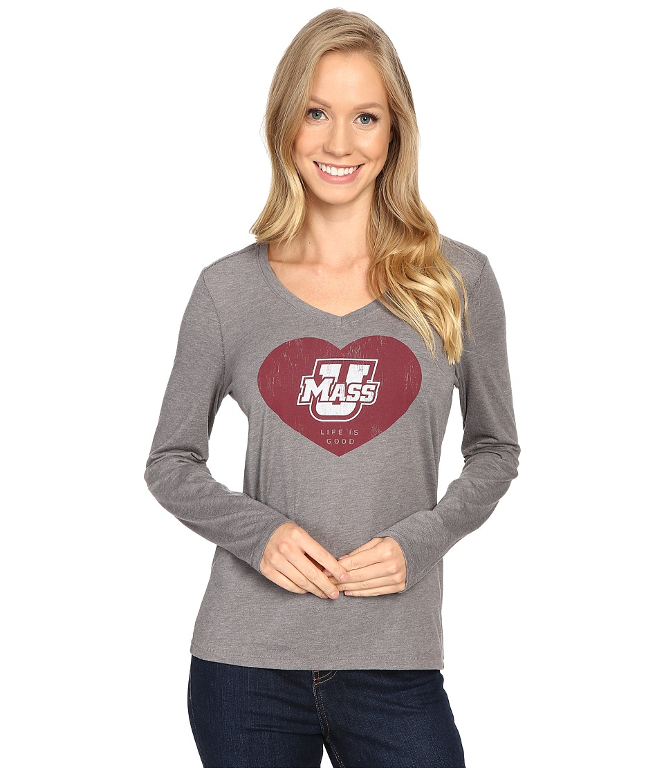 Life is good Heart Long Sleeve Tee (Slate Grey) Women