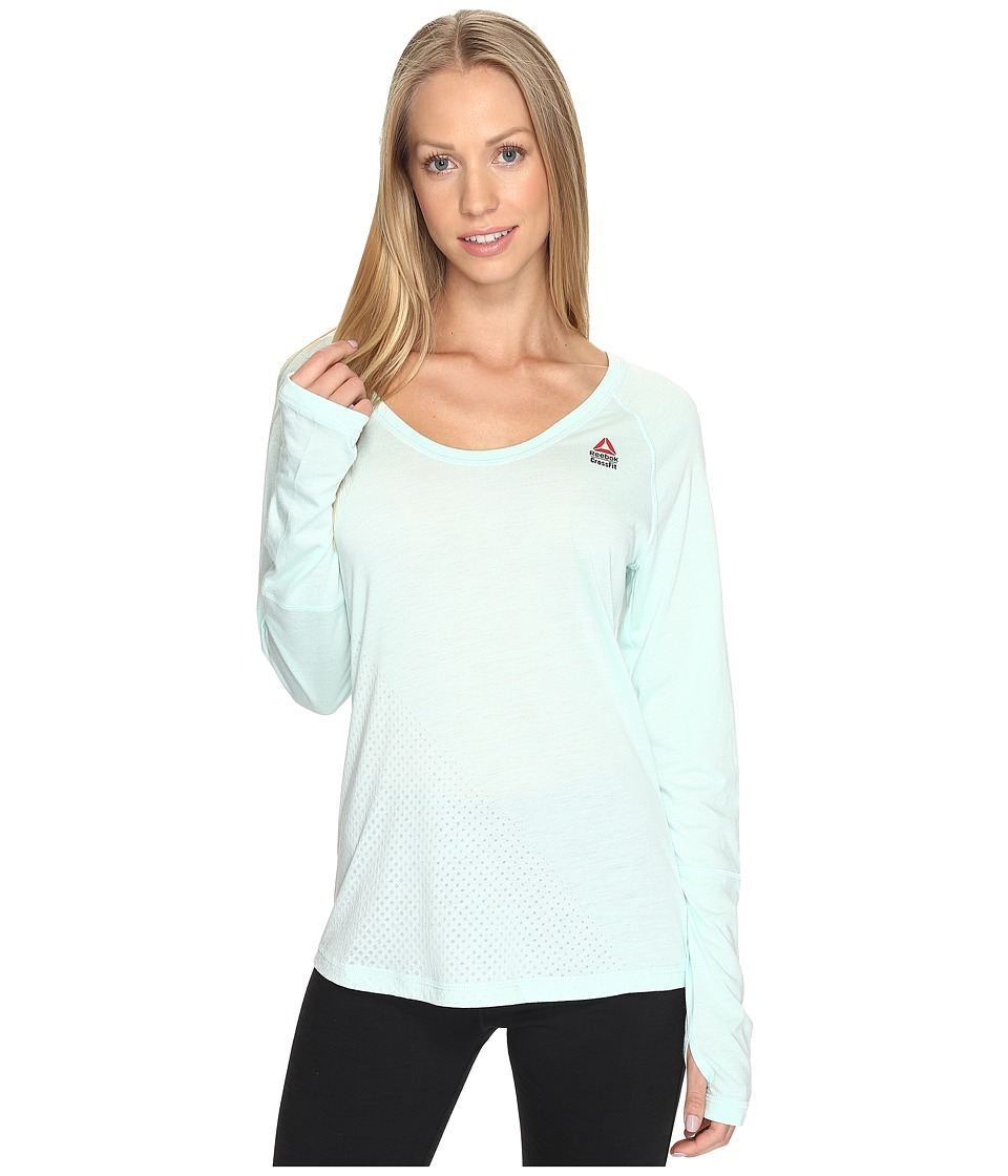 Reebok - CrossFit Long Sleeve Burnout Graphic Tee (Mist) Women's Long Sleeve Pullover