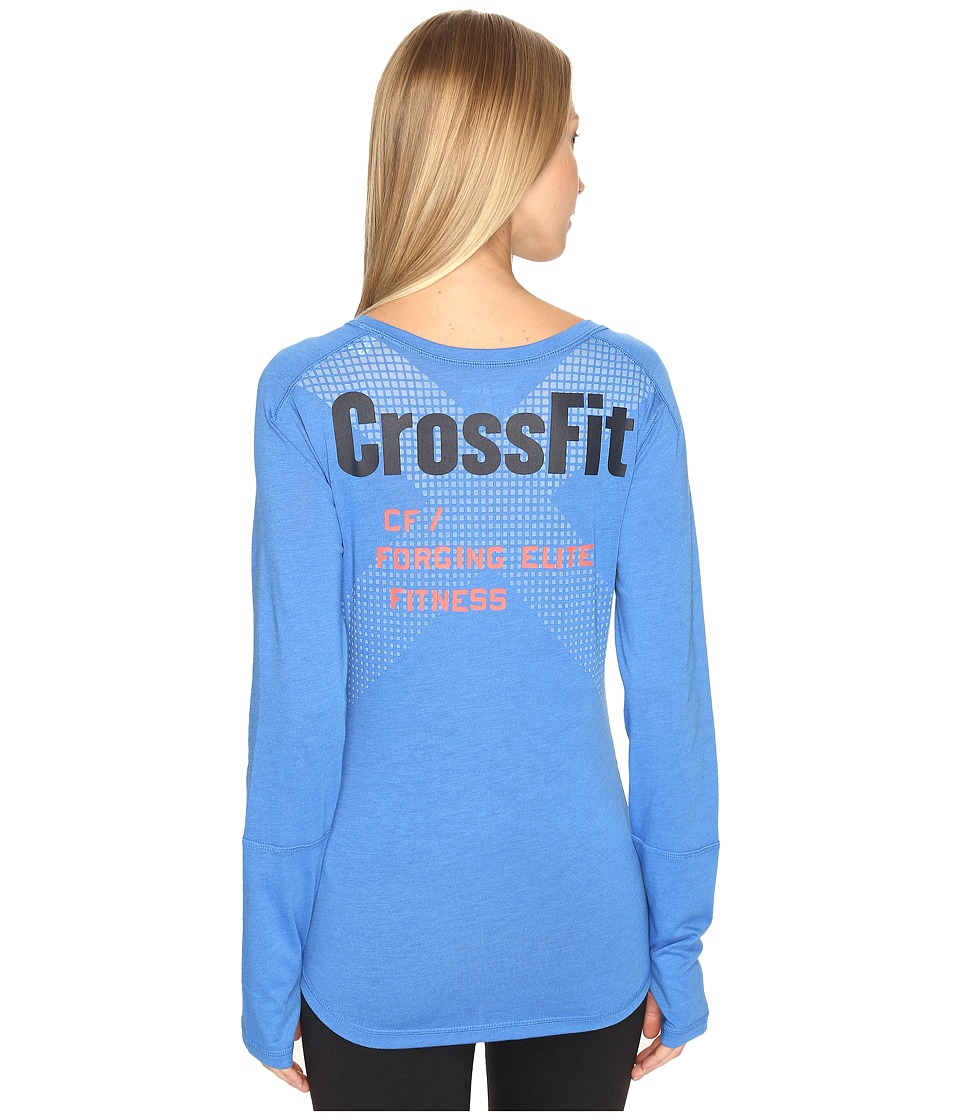 Reebok - CrossFit Long Sleeve Burnout Graphic Tee (Echo Blue) Women's Long Sleeve Pullover