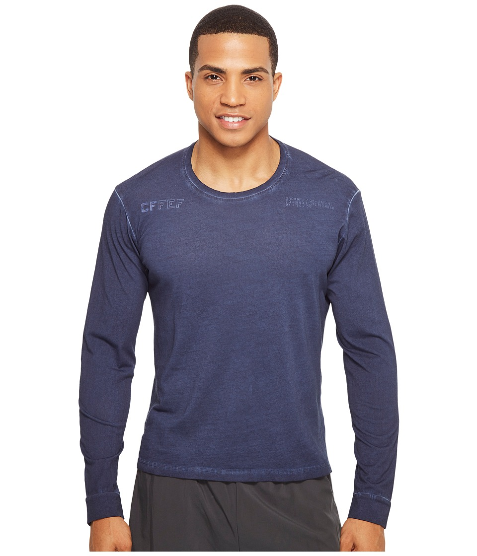 Reebok - CrossFit Long Sleeve Performance Blend Tee (Collegiate Navy) Men's Long Sleeve Pullover