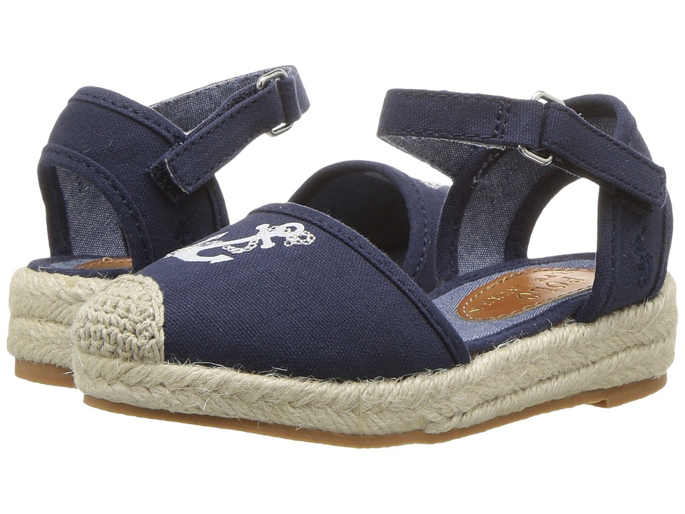 Polo Ralph Lauren Kids - Briele (Toddler) (Navy Canvas/Embroidered Anchor) Girl's Shoes