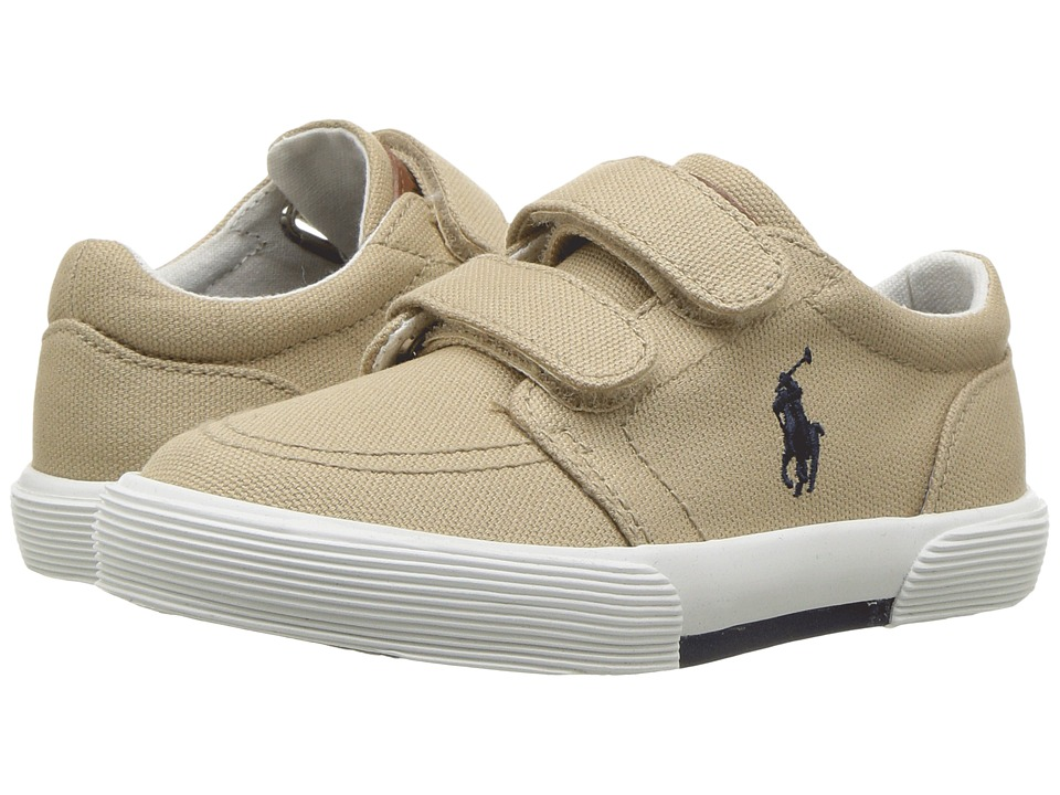 Polo Ralph Lauren Kids - Faxon II EZ (Toddler) (Khaki Canvas/Navy PP) Kid's Shoes