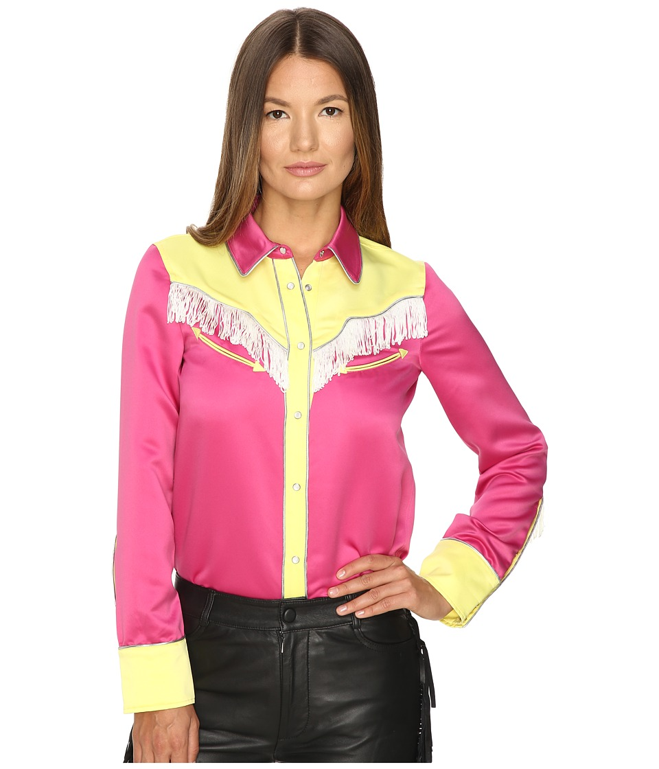 Jeremy Scott - Satin Fringe Western Blouse (Pink/Yellow) Women's Blouse