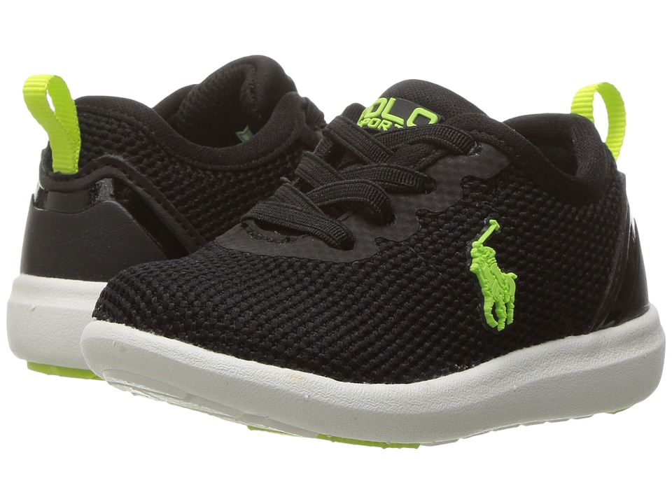 Polo Ralph Lauren Kids - Kasey Gore (Little Kid) (Black Mesh/Lime Green) Kid's Shoes