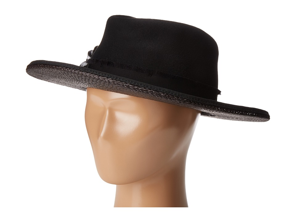 The Kooples - Laurent Wool Felt Hat w/ Straw (Black) Traditional Hats