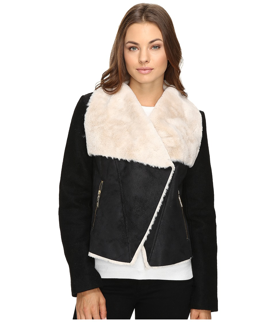 Betsey Johnson - Faux Shearling Jacket (Black/Cream) Women's Coat