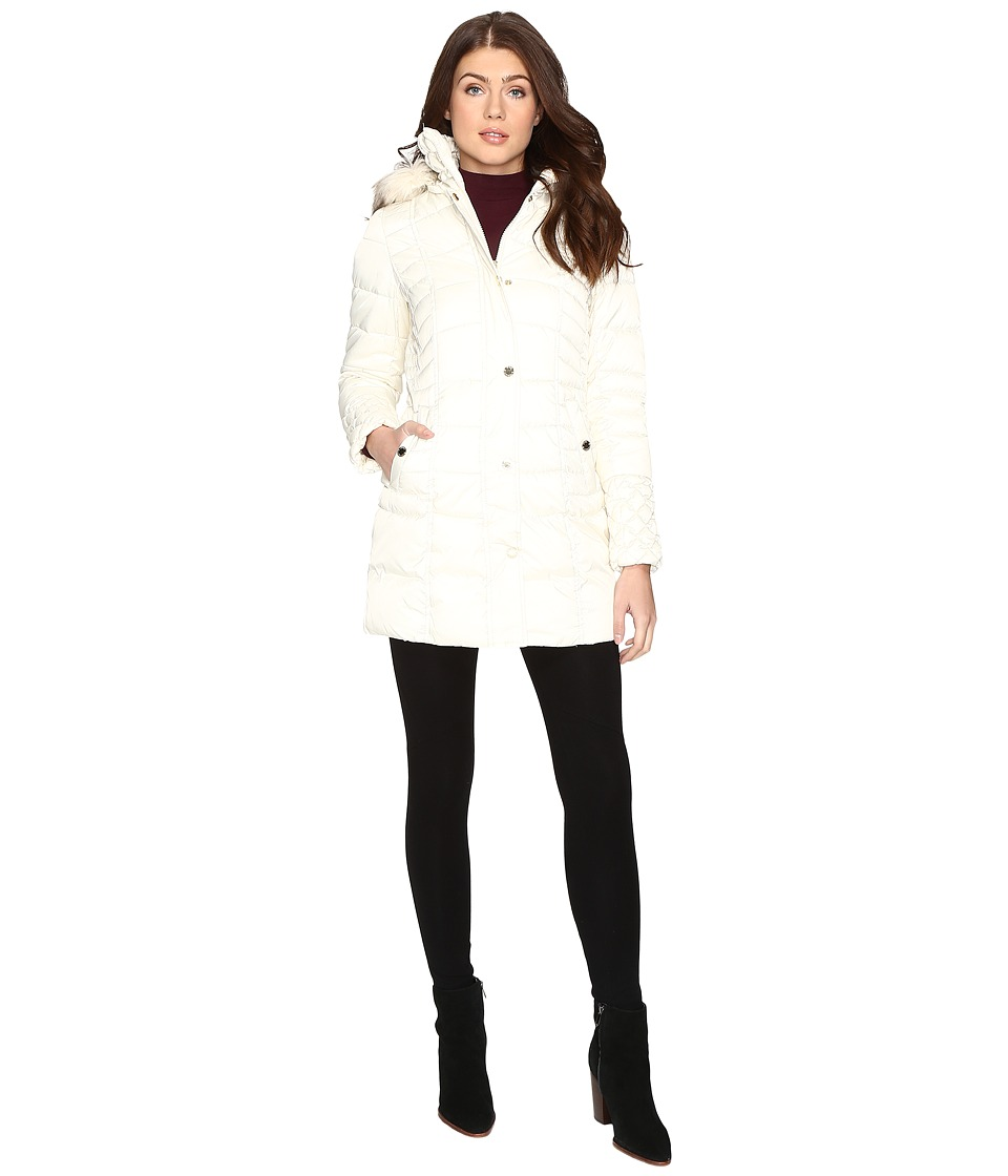 Betsey Johnson - Quilted Puffer w/ Fur Hood (Ivory) Women's Coat