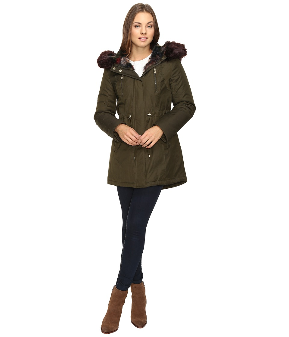 Betsey Johnson - Parka w/ Multi Fur Hood (Olive/Multi) Women's Coat