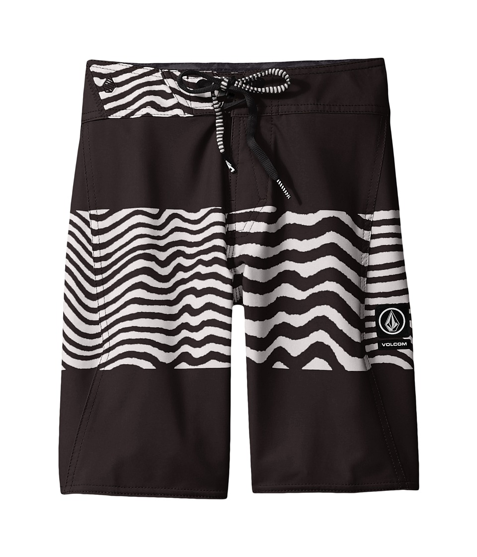 Volcom Kids Macaw Mod Boardshorts (Big Kids) (Black/White) Boy