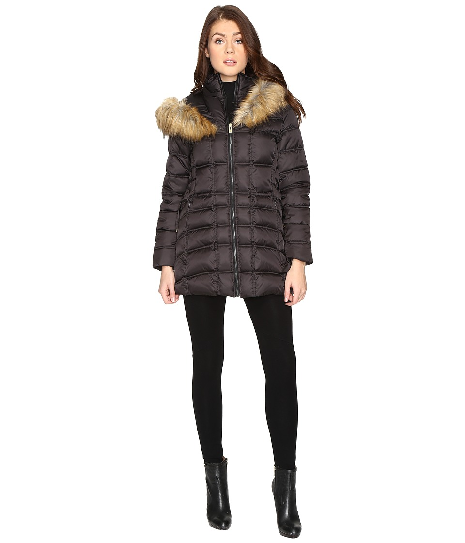 Betsey Johnson - Quilted Fur Hooded Coat (Black) Women's Coat
