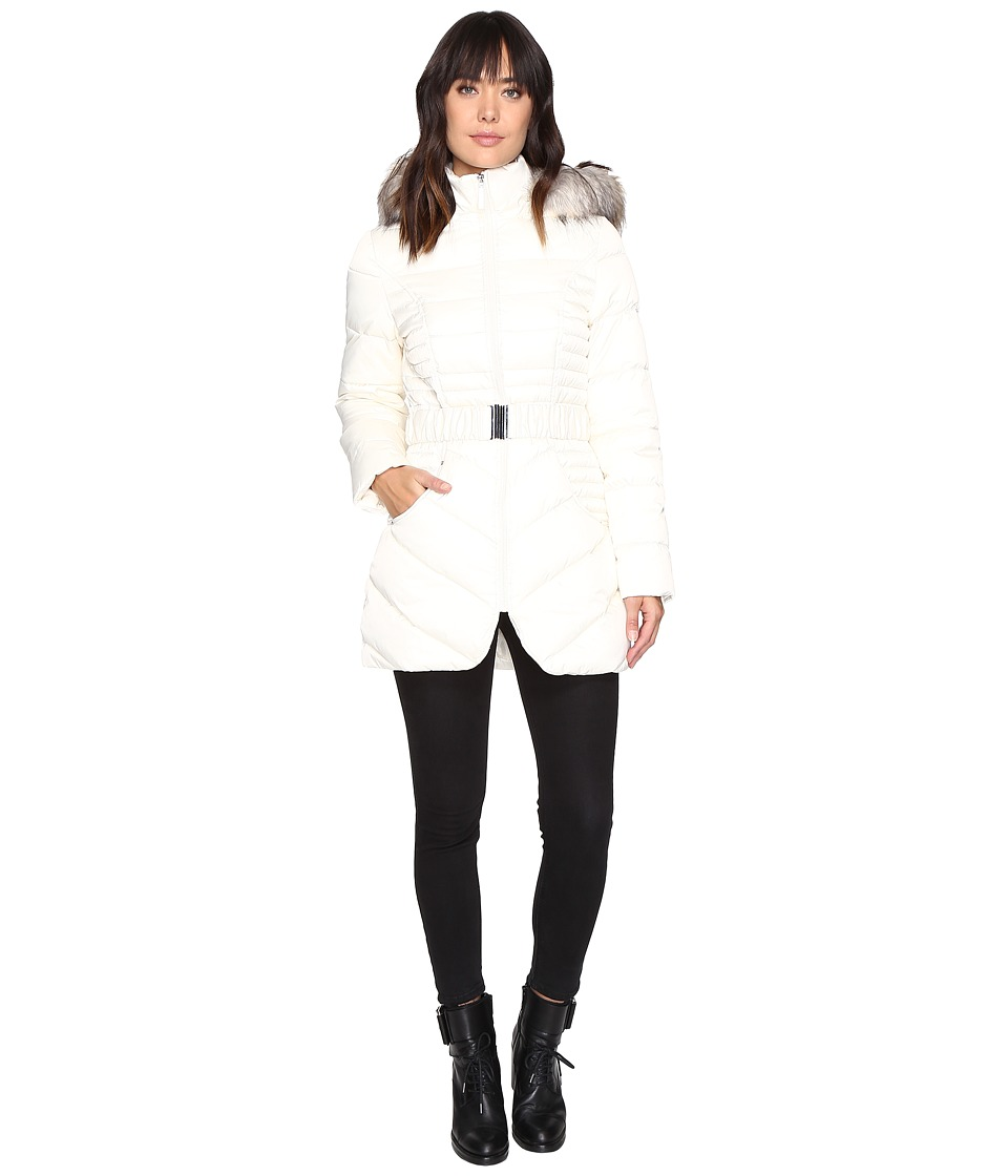 Betsey Johnson - Belted Puffer w/ Fur Hood (Ivory) Women's Coat