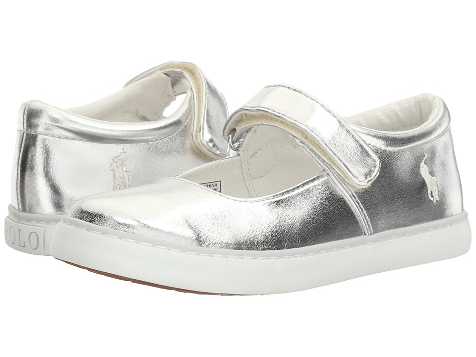 Polo Ralph Lauren Kids - Pippa (Little Kid) (Silver Metallic/White PP) Girl's Shoes