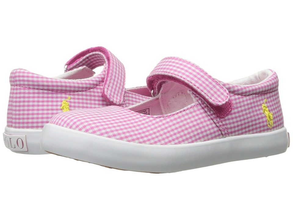 Polo Ralph Lauren Kids - Pippa (Toddler) (Pink Gingham/White PP) Girl's Shoes