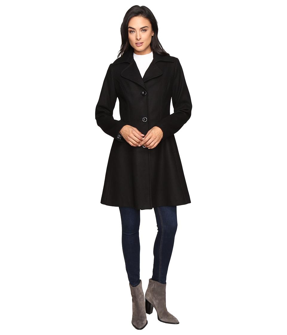 Betsey Johnson - Button Up Wool Coat (Black) Women's Coat