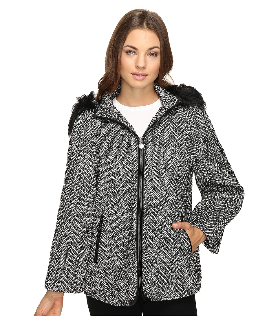 Betsey Johnson - Fashion Cape w/ Fur Hood (Black/White) Women's Coat