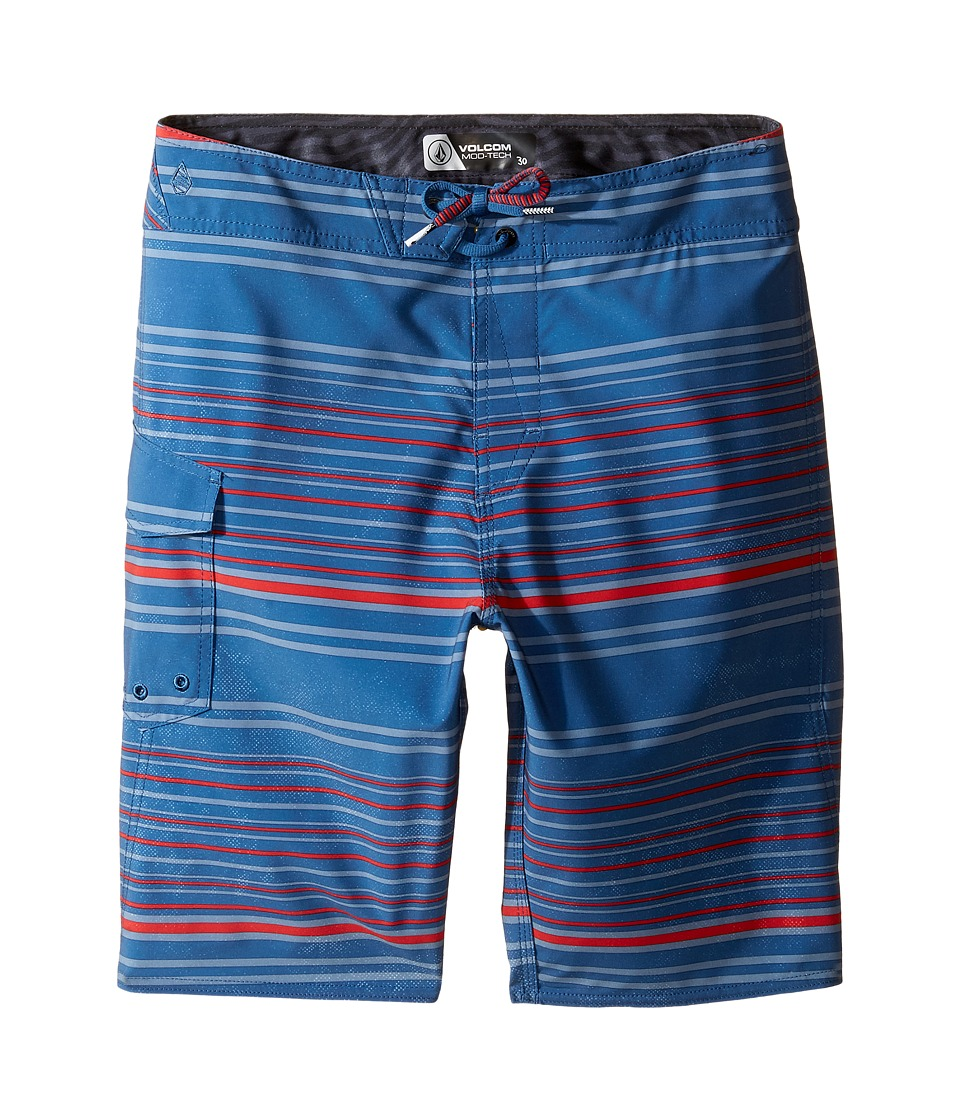 Volcom Kids - Magnetic Liney Mod Boardshorts (Big Kids) (Smokey Blue) Boy's Swimwear