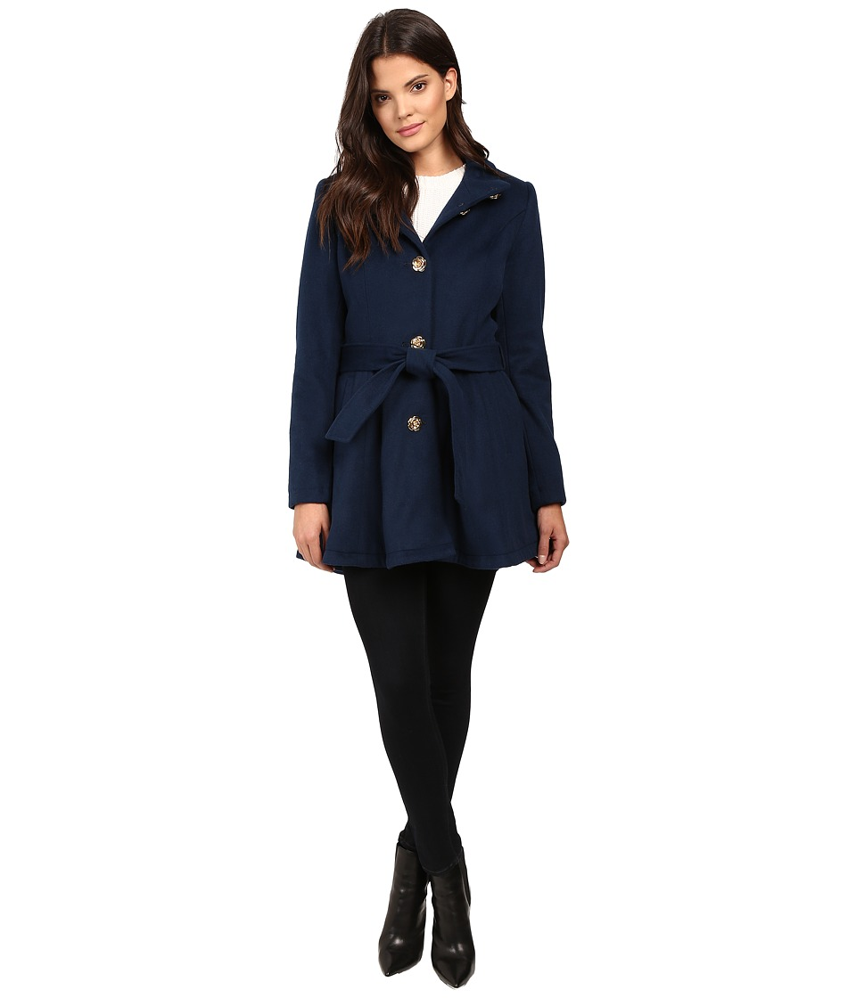 Betsey Johnson - Belted Wool w/ Rose Buttons (Marine Navy) Women's Coat