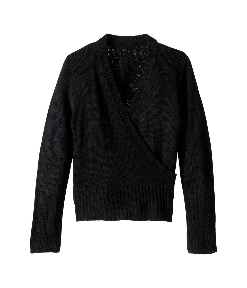 Capezio Kids - Long Sleeve Wrap Sweater (Toddler/Little Kids/Big Kids) (Black) Girl's Sweater