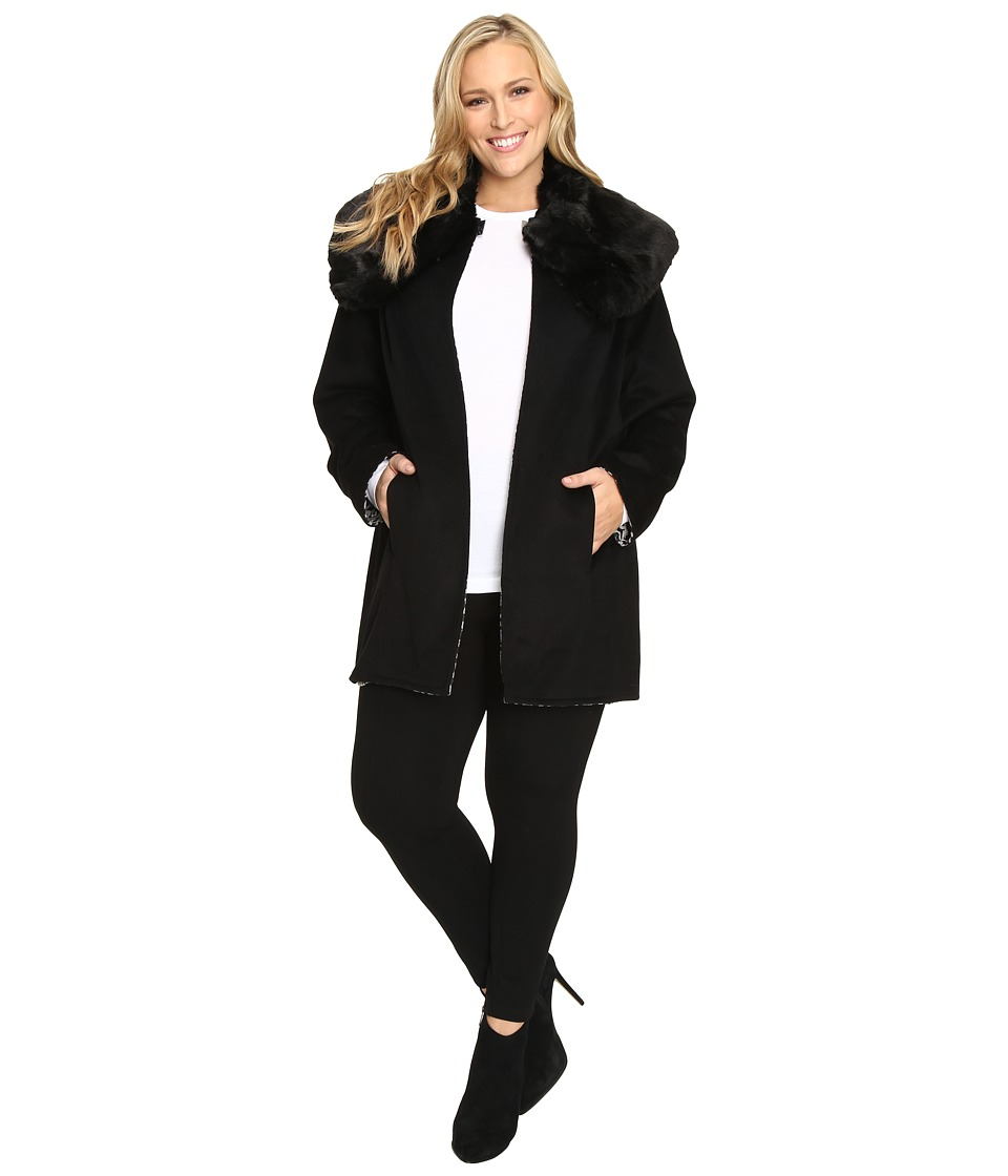 Betsey Johnson - Plus Size Reversible Wool Coat w/ Fur Collar (Black/Snow Leopard) Women's Coat plus size,  plus size fashion plus size appare