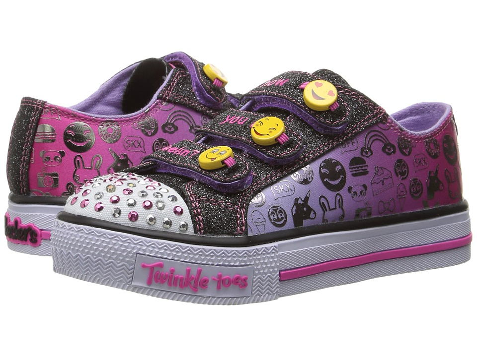 SKECHERS KIDS - Twinkle Toes - Expressionista 10704L Lights (Little Kid/Big Kid) (Black/Lavendar) Girls Shoes