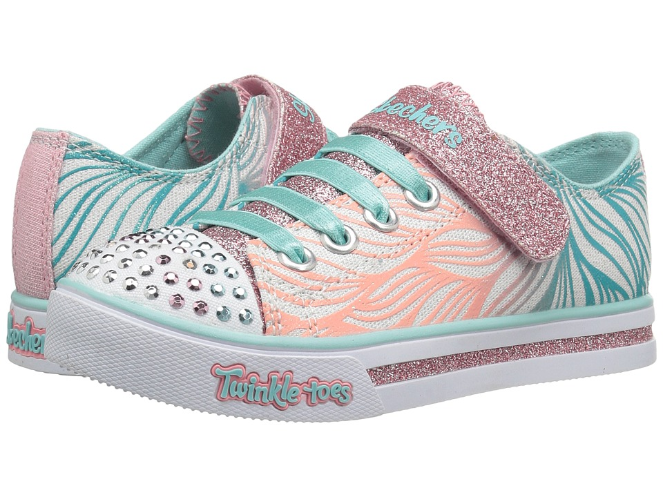 SKECHERS KIDS - Twinkle Toes - Sparkle Glitz 10710L Lights (Little Kid/Big Kid) (White/Pink/Mint) Girl's Shoes