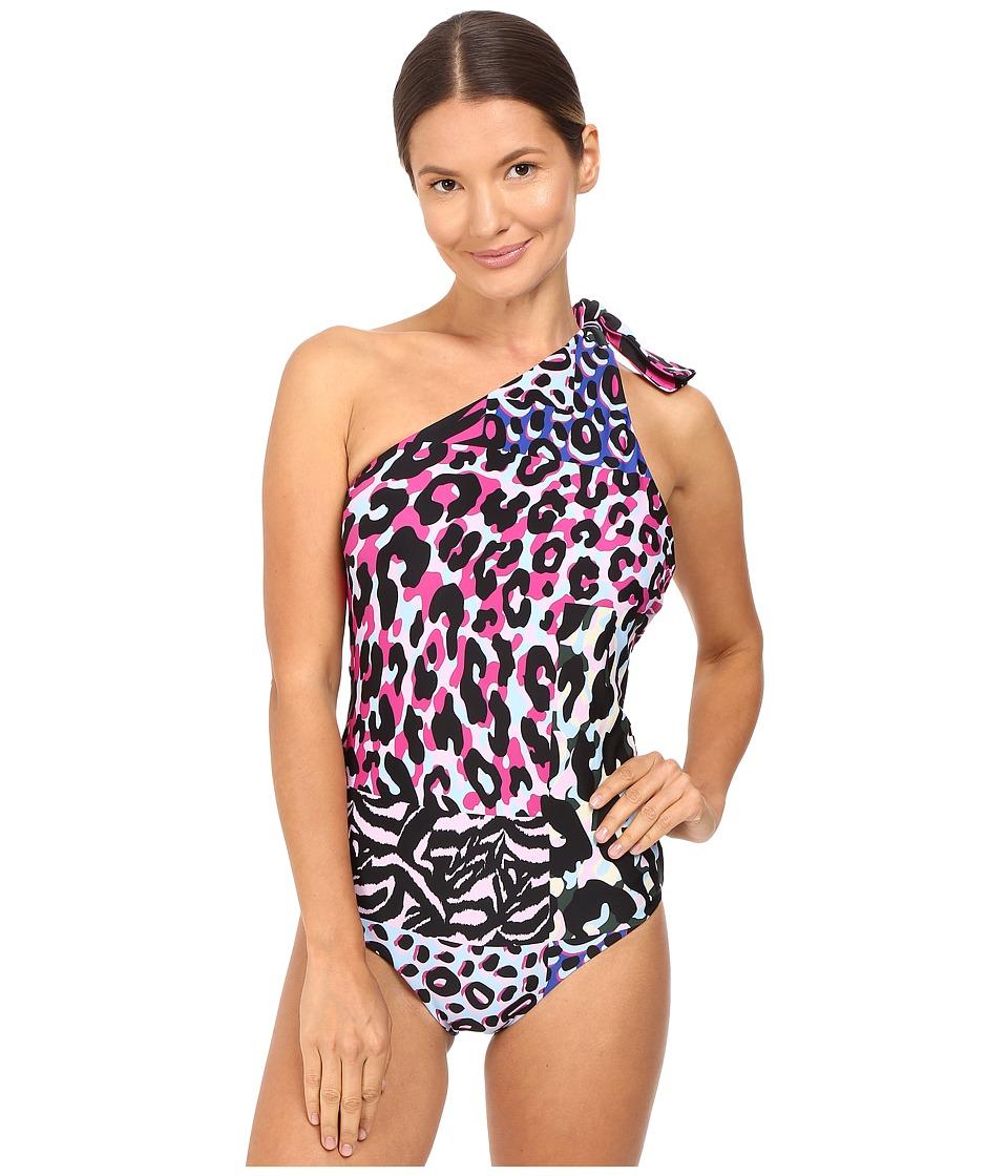 Versace - One Shoulder One-Piece Animalier Bikini (Multicolor) Women's Swimsuits One Piece