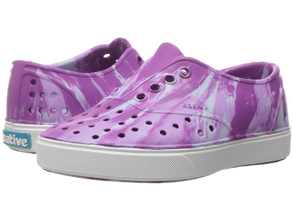 Native Kids Shoes Miller Marbled (Toddler/Little Kid) (Baker Purple/Shell/Marbled) Girls Shoes