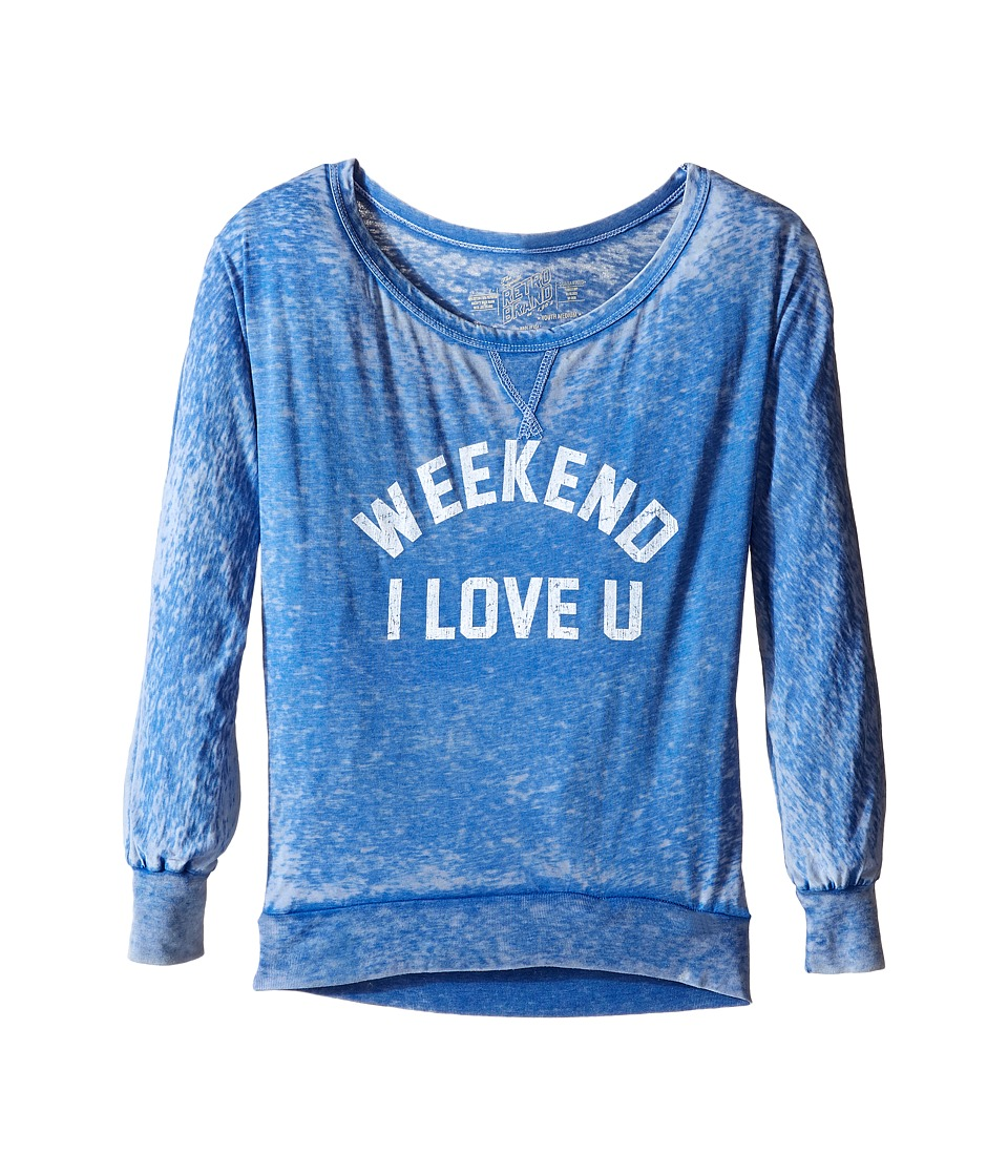 The Original Retro Brand Kids - Weekend I Love You Burnout Pullover (Big Kids) (Royal) Girl's Clothing