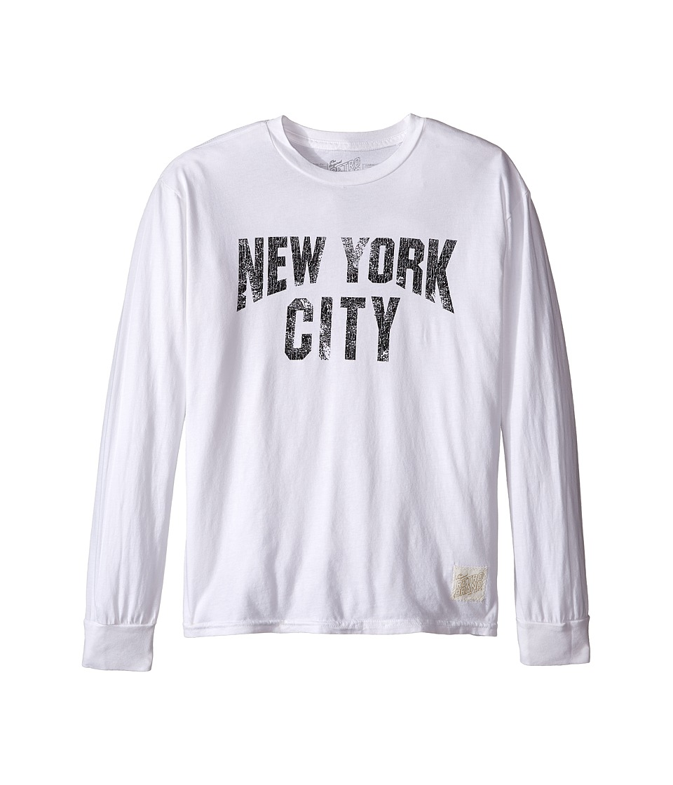 The Original Retro Brand Kids - New York City Long Sleeve Slub T-Shirt (Big Kids) (White Slub) Boy's T Shirt