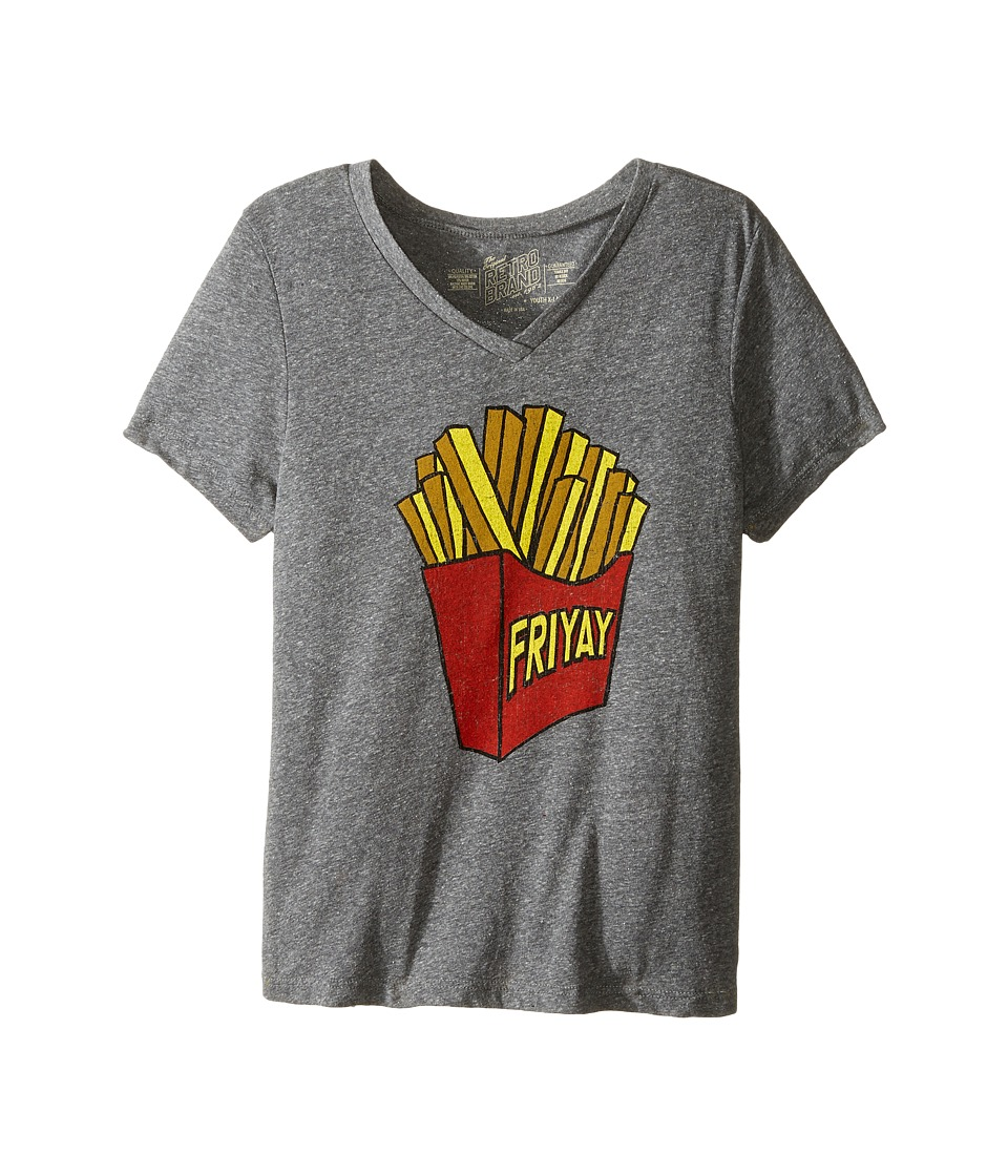 The Original Retro Brand Kids - Friday Short Sleeve V-Neck Tee (Big Kids) (Streaky Grey) Girl's T Shirt