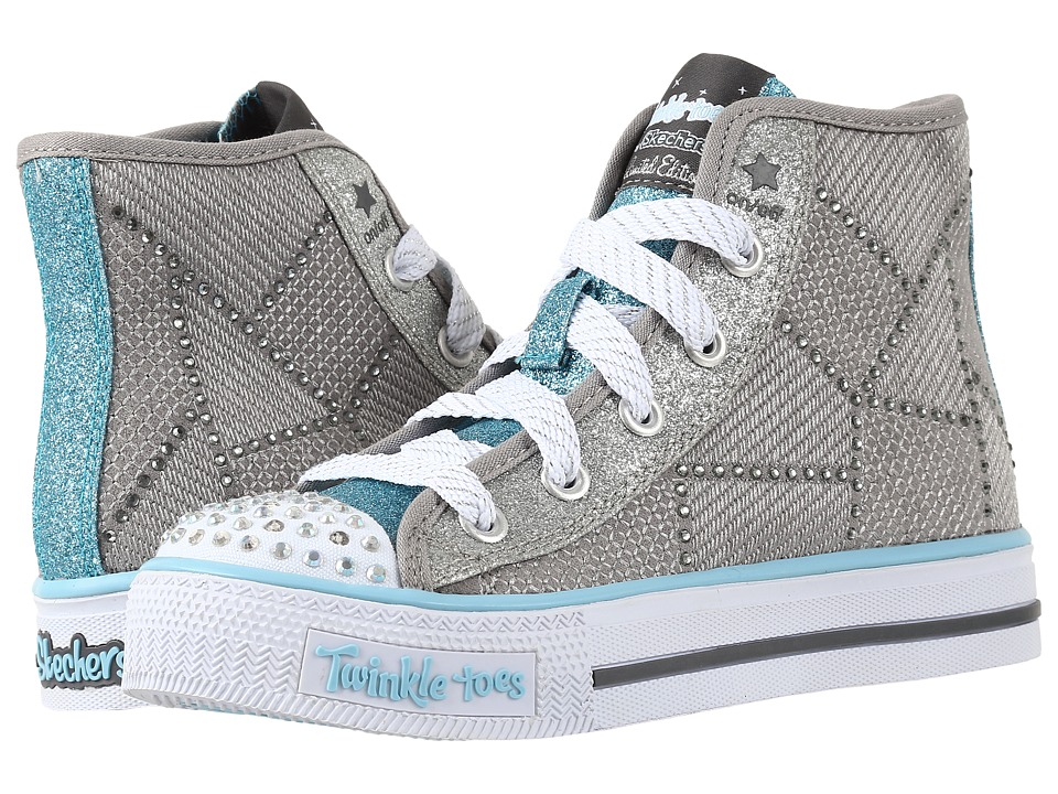 SKECHERS KIDS - Twinkle Toes - Dazzle Dancer 10694L Lights (Little Kid/Big Kid) (Grey/Light Blue) Girls Shoes