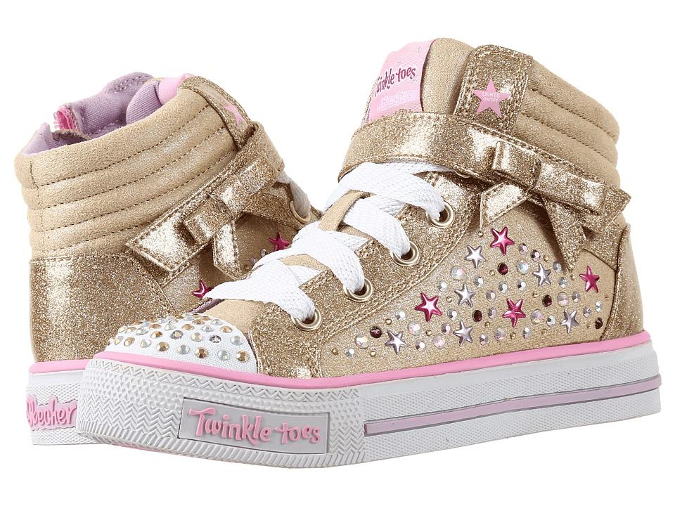 SKECHERS KIDS - Twinkle Toes - Shuffles 10712L Lights (Little Kid/Big Kid) (Gold/Multi) Girl's Shoes