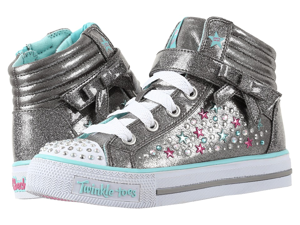 SKECHERS KIDS - Twinkle Toes - Shuffles 10712L Lights (Little Kid/Big Kid) (Gunmetal/Turquoise) Girl's Shoes