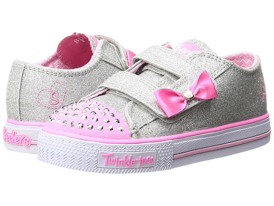 SKECHERS KIDS - Twinkle Toes - Shuffles 10729N Lights (Toddler/Little Kid) (Silver/Pink) Girl's Shoes