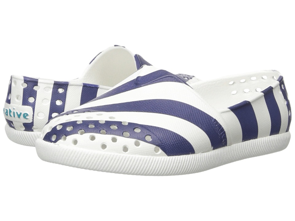 Native Kids Shoes - Verona Print (Toddler/Little Kid) (Shell White/Shell White/Regatta Blue Stripe) Girl's Shoes