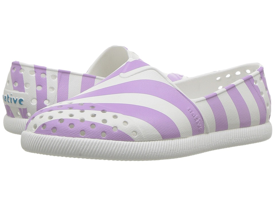 Native Kids Shoes - Verona Print (Toddler/Little Kid) (Shell White/Shell White/Lavender Stripe) Girl's Shoes