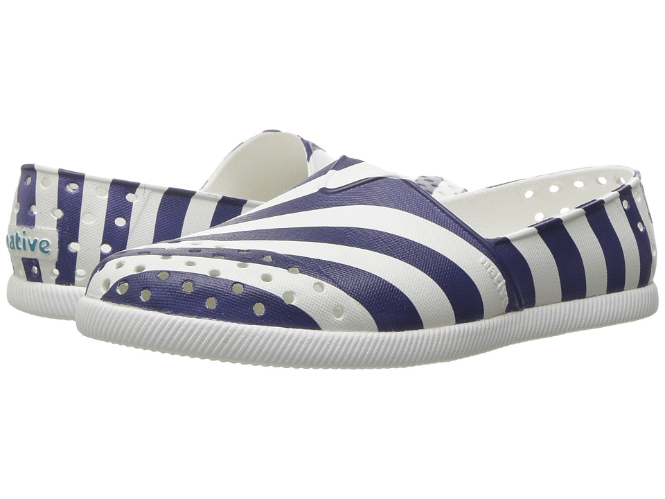 Native Kids Shoes - Verona Print (Little Kid) (Shell White/Shell White/Regatta Blue Stripe) Girl's Shoes