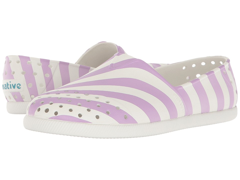 Native Kids Shoes - Verona Print (Little Kid) (Shell White/Shell White/Lavender Stripe) Girl's Shoes