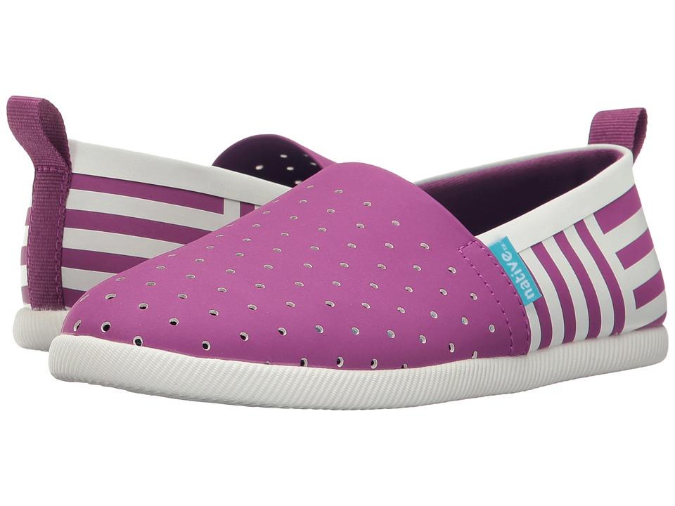 Native Kids Shoes - Venice Stripe (Little Kid) (Baker Purple/Shell White/Shell Stripe) Girl's Shoes